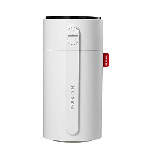 KSIBNW Humidificador de Niebla Inteligente Portátil de 800 ml con Pantalla LED, 2 Boquillas,Función de luz nocturna,Humidificador Personal con Apagado Automático para Dormitorio /Coche /Oficina