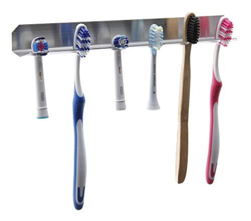 FGE-Line 6er Zahnbürstenhalter aus Edelstahl | selbstklebend & ohne Bohren | Made in Germany