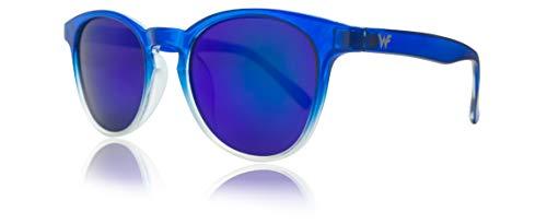 WOLFIRE SC Gafas de sol redondas para Hombre y Mujer, UV 400 Filtros, 100% Protección (Azul-azul)