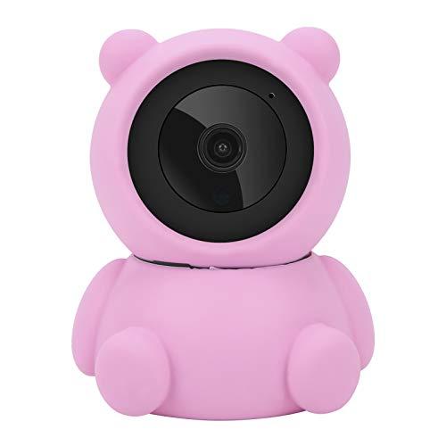 Cámara PTZ WiFi 1080P, cámara de vigilancia con diseño de oso rosa, cámara CCTV de seguridad para el hogar, monitoreo remoto, visión nocturna, audio bidireccional(EU)