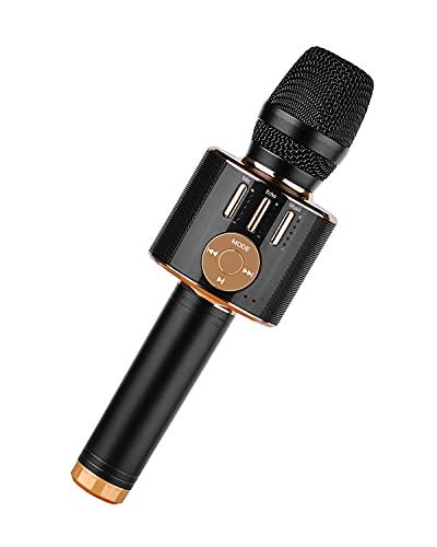 Beedove Micrófono Karaoke Bluetooth, 4 en 1 Microfono Inalámbrico, Función de Grabación Echo Sonido Magico Portátil KTV para Niños Canta Partido Musica, Compatible con Android, PC, Smart tv (Negro)
