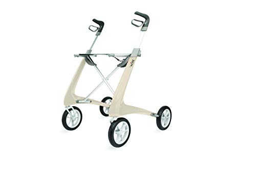 byACRE Carbon Ultralight Rollator Walker with Organizer Bag, Wide Track, Oyster White