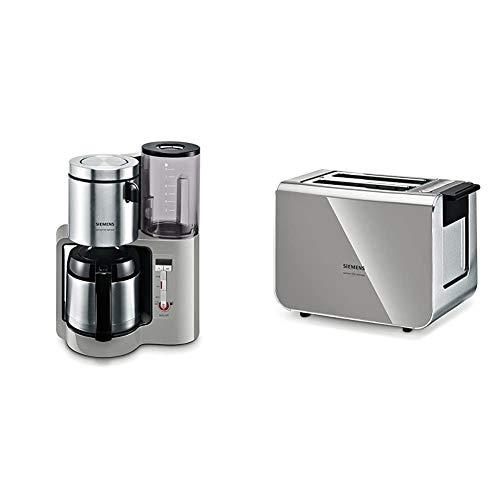 Siemens TC86505 Kaffeemaschine (1100 Watt max, 8/12 Tassen, Edelstahl Thermokanne) urban grau & TT86105 Toaster 860 Watt für 2 Scheiben Toast, wärmeisoliertes Gehäuse, urban grau