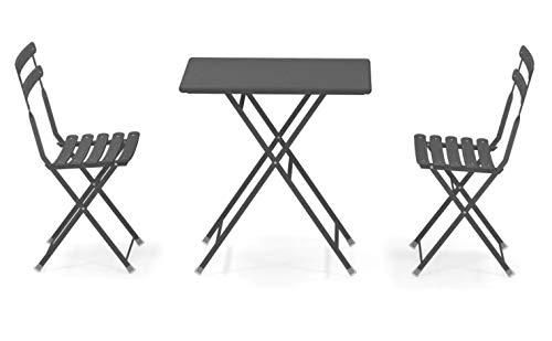Emu Arc en Ciel Folding Table Item 334 cm 50 x 70 cm and 2 Chairs Item 314 Antique Iron Code 22