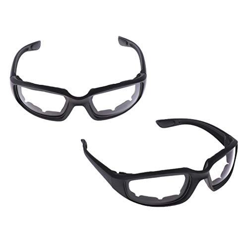 Shiwaki 2 Stücke Motorradbrille Fahrradbrille passend für Erwachsener, Anti Beschlag, Kratzfest, UV-Beständig