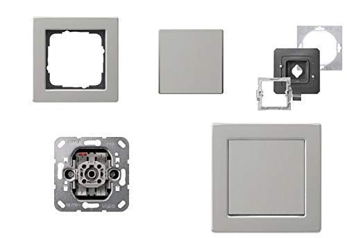 GIRA Komplett-Set, Lichtschalter Wechselschalter An/Aus 010600 + 1fach Rahmen E2, wassergeschützt IP44 Edelstahl rostfrei + IP 44 Dichtungen