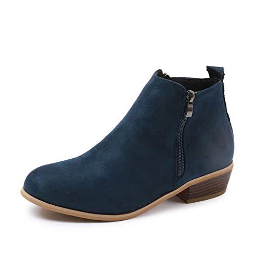 ZYLL Mujer Botines Chelsea Bloque Redondo Talón Zip para Mujer de Las Botas del Tobillo tamaño de los Zapatos 35-43,Azul,36