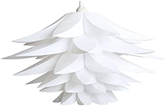 Lotus Shape Chandelier Pendant Ceiling Lamp DIY Home Living Room Bedroom Decoration Shade Hanging Light Lampshade led Party Xiaolanwelc (White)