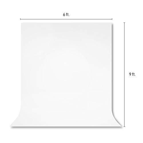 JS JULIUS STUDIO 6 x 9 ft. / 1.8 x 2.8 M / White Screen Fabric 100% Pure Backdrop Background with String Clips for Photo Video Streaming Photography Studio, JSAG103
