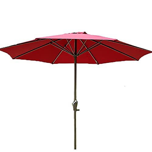 Lqdp Sombrilla Paraguas de Patio Verde de Estilo nórdico, Gran sombrilla de jardín con protección Solar y Poste de Aluminio con manivela