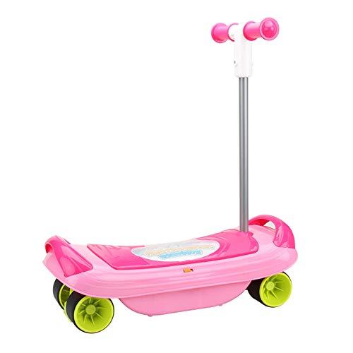 LYY Spaß Interaktiv Kinder-Vierräder-Roller der Kinder-Multifunktions-Scooter DREI-in-One-Rocking-Board-Spielzeug 3-6 Jahre alt (ohne Batterie) Die Beste Wahl für Kinder (Color : Pink)