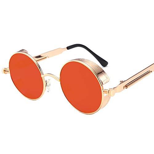 DovSnnx Gafas De Sol Unisex para Hombres Y Mujers Polarizadas Protección 100% Uv400 Clásico Vintage Moda Sunglasses Lente Roja con Montura Dorada