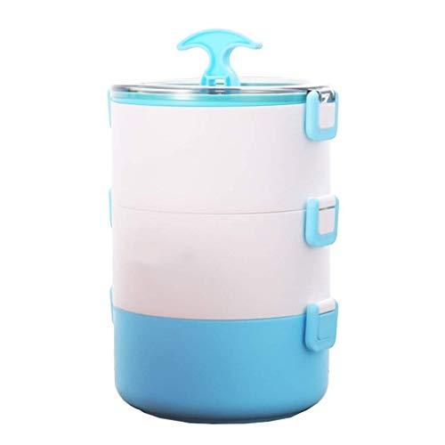 Eten Containers Lunch Box 3-laags Magnetron Vriezer Vaatwasser Volwassenen Work es For Kids Lunch Box For Girls (Kleur: Blauw) Geïsoleerde draagbare lunchbox. (Color : Blue)