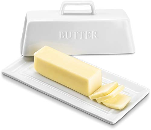 KooK Ceramic Butter Dish with Handle Cover Design, 7.5 Inch Wide, White