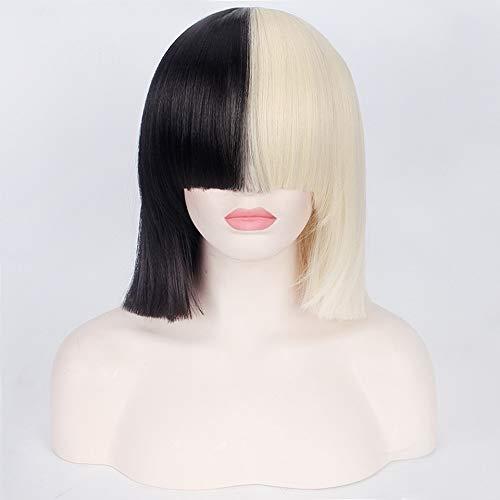 Dies Handelt Sia Anime Cosplay Perücke Synthetische Haar Frauen Gerade Halloween Half Blonde Schwarz Kurze Bob Perücken Mit Pony 35 Cm