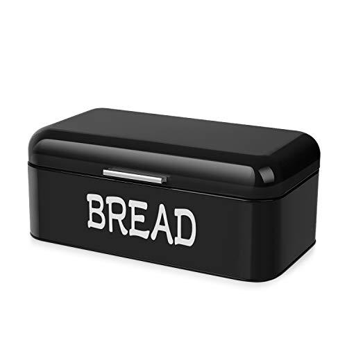 Flexzion - Panera de metal vintage para encimera de cocina, contenedor de almacenamiento de pan, encimera de acero, ahorro de espacio,...