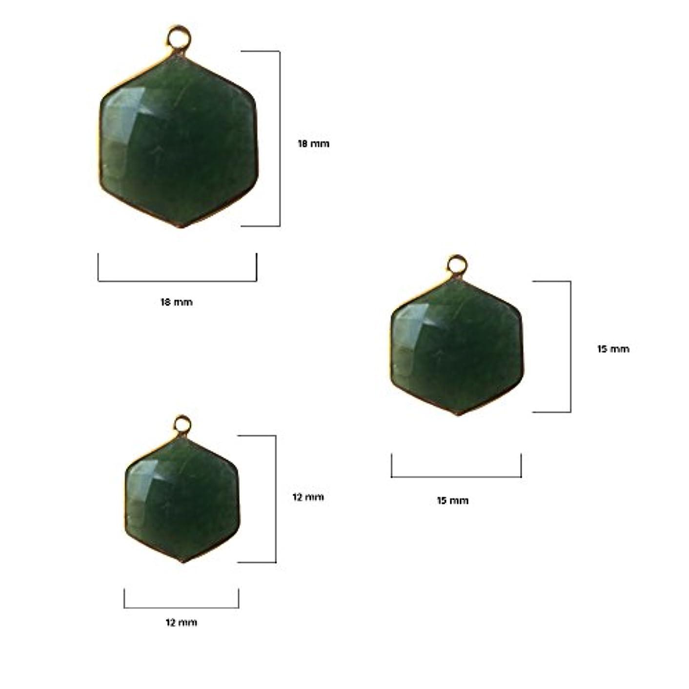 2 Pcs Natural Serpentine Hexagon Beads 12mm 24K Gold Vermeil by BESTINBEADS, Natural Serpentine Hexagon Pendant Bezel Gemstone Connectors Over 925 Sterling Silver Bezel Jewelry Making Supplies