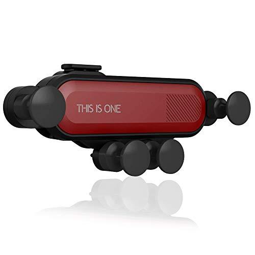 Soporte para teléfono celular para automóvil AFUNTA - Gravity Air Vent Soporte para teléfono para automóvil, Soporte para teléfono ajustable para automóvil 360 ° con desbloqueo automático-Negro y Rojo