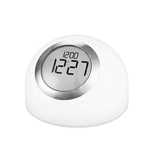 Piso abuelo reloj despertador niño despertador perezoso reloj reloj digital reloj reloj tiene 7 cambio de color reloj despertador toque toque atenuante función de escritorio reloj de escritorio