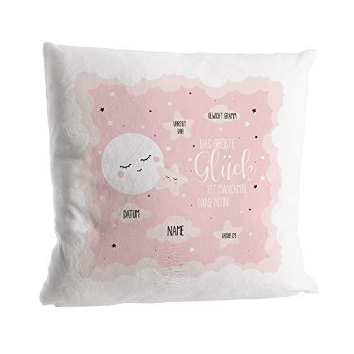 Striefchen® Super weiches Kissen als Geschenk zur Taufe oder Geburt mit Geburtsfakten - Babygeschenk oder Geburtskissen Mädchen