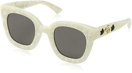 Gucci GG0208S 005 Gafas de sol, Blanco (5/Grey), 49 para Mujer
