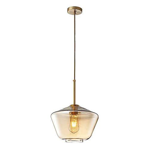 Lámpara de techo de araña de un solo cabezal Lámpara de techo colgante con pantalla de vidrio transparente para sala de estar Dormitorio Restaurante E27 Lámpara de suspensión,ajustable,luz cálida