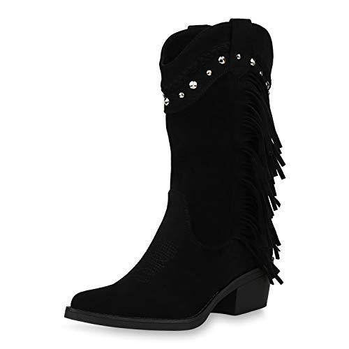 SCARPE VITA Damen Cowboystiefel Fransen Stiefel Western Schuhe Cowboy Boots Wildleder-Optik Westernstiefel Nieten Stickereien 187431 Schwarz 39