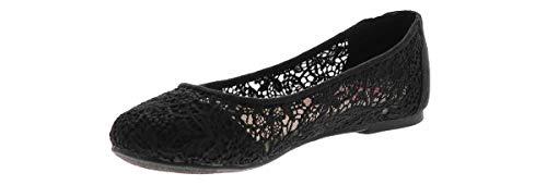 Jellypop Dariana Crochet Flat Casual Shoe Black in Size 7