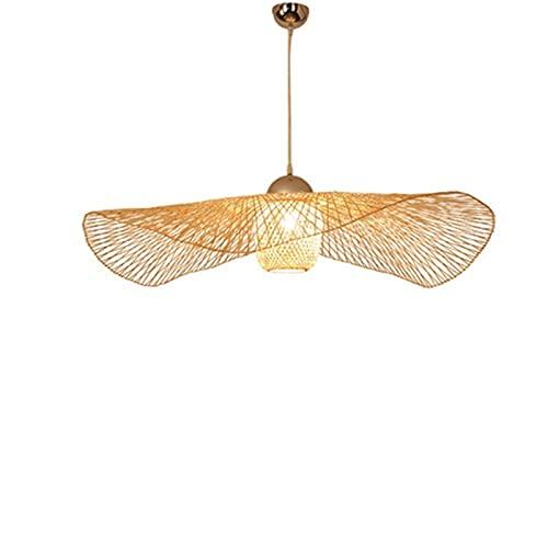 Accesorio de iluminación Nuevo chino tropical araña de bambú araña rústica sombrero de paja forma chandeliers globo lámpara de lámpara tejido de ratán luz de techo isla colgante lámpara restaurante lu