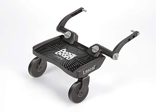 Lascal BuggyBoard Mini, Kinderbuggy Trittbrett mit Stehfläche, Kinderwagen Zubehör für Kinder von 2-6 Jahren (22 kg), kompatibel mit fast jedem Buggy und Kinderwagen, schwarz