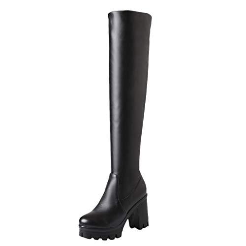 LILIHOT Mode Frauen Sexy High Heel Schuh Dicke Plattform Knie Platz Ferse Boot Schnee Boot...