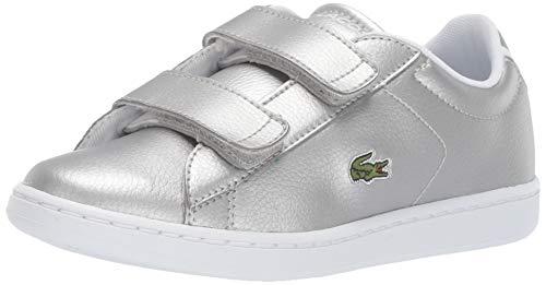 Lacoste Girls' Carnaby EVO Sneaker, Silver/White, 6 Medium US Toddler