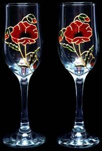 Celtic Glass Colorado Springs Mall Designs Set of 2 in Champagne Hand Painted Flutes a Denver Mall