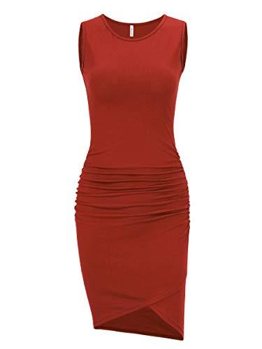 Women's Casual Sleeveless Ruched Bodycon Sundress Irregular Sheath T Shirt Dress (Rust, Medium)