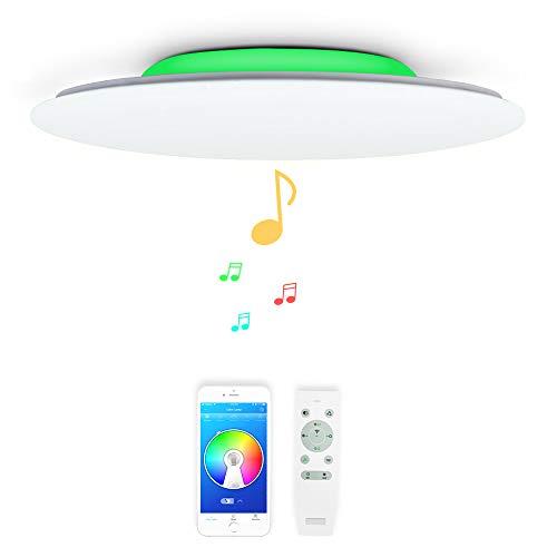 48w Φ51cm Musik Led Deckenleuchte mit Bluetooth Lautsprecher, Deckenlampe Farbwechsel mit Fernbedienung und APP-Steuerung, Helligkeit Verstellbar für Wohnzimmer Schlafzimmer Kinderzimmer Küche