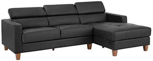 Loft24 A/S Sofa L-Form Couch Ecksofa Polsterecke Holzbeine verstellstarbe Kopfstütze mit Recamiere (Grau Recamiere Rechts, PU)
