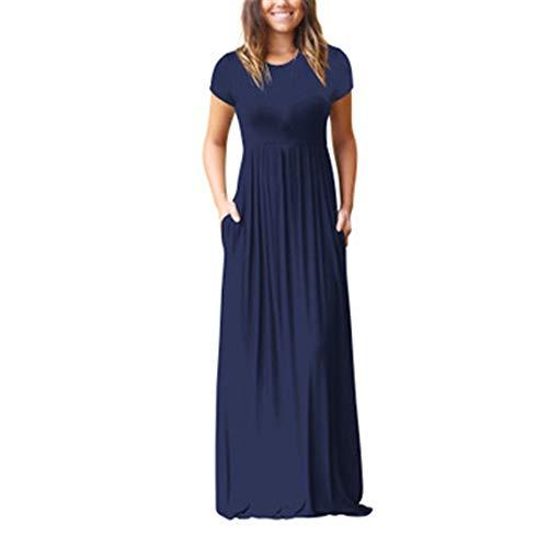 Generice - Vestido largo para mujer, de manga corta, informal, con bolsillo