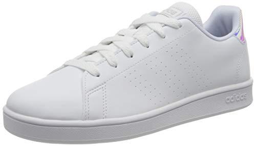 adidas Advantage K, Scarpe da Tennis, Ftwr White/Silver Met./Ftwr White, 37 1/3 EU