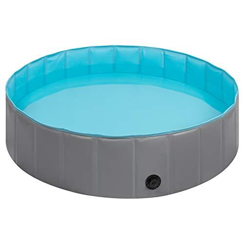 EUGAD 0005GYYC Hundepool Ø80cm Hunde Swimmingpool Planschbecken Haustier Schwimmbad Badewanne Für Hunde Katzen Faltbares Doggy Pool Katzenpool Grau/Blau 80x20cm