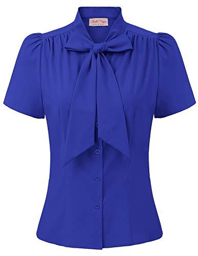 Blusa Azul Mujer Blusa y Camisa Mujer Elegante Manga Corta para Trabajo Oficina Dama BP0819-6 XL