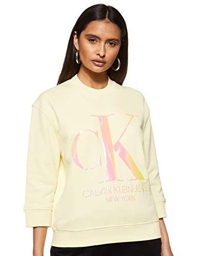 Calvin Klein Jeans Damen Iridescent Monogram Crew Neck Sweatshirt, Gelb (Mimosa Yellow Zhh), 38 (Herstellergröße: Large)