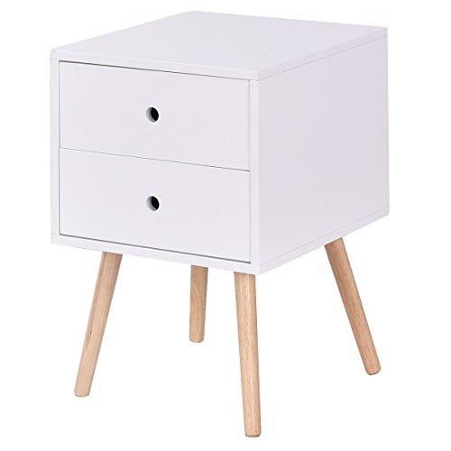 COSTWAY Beistelltisch aus Holz, Nachttisch mit Stauraum, Nachtschrank weiß, Nachtkonsole, Sofatisch, Nachtkommode für Schlafzimmer, Wohnzimmer (2 Schubladen)