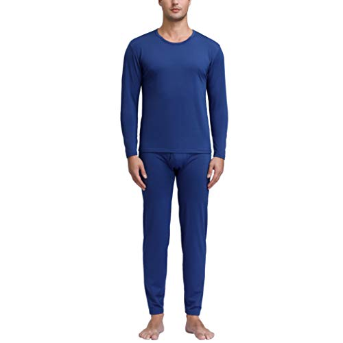 Degrees of Comfort Thermal Underwear for Men | Fleece Long Johns with Thermic-Flex Technology | Breathable Ultra Soft Thick Fabric Warm Base Layer for Snow Cold Winter Navy X Large