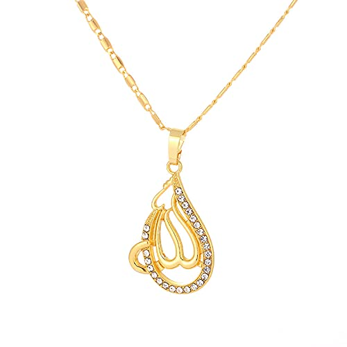 TTbaoz Collar con Colgante de fe de Oro para Mujeres Musulmanas Dios Alá Joyería de Glamour islámica Cadena de Cobre-Gold_45cm
