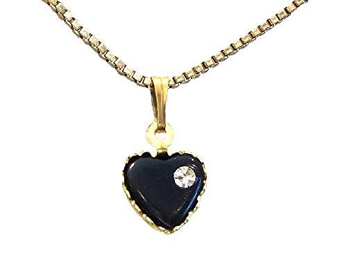 fashionjewellery4u Collana con Ciondolo a Forma di Cuore Nero con Cristalli, Gioiello per Ragazze e Donne