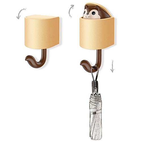 FeiliandaJJ Kreativer Cartoon Eichhörnchen Wandhaken Selbstklebend Tür Wandhaken Garderoben Handtuchhalter Küchenhaken für Badezimmer, Küche, Kleiderschrank (Kaffee)