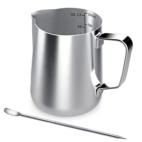 Acciaio inossidabile tazza di latte, bricco da latte 350 ml Handheld caffè bricco latte...