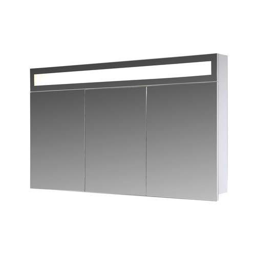 Eurosan 3-türiger Spiegelschrank, Superflache, Integrierte LED-Frontbeleuchtung, Breite 100 cm, Weiß, Paris, P100