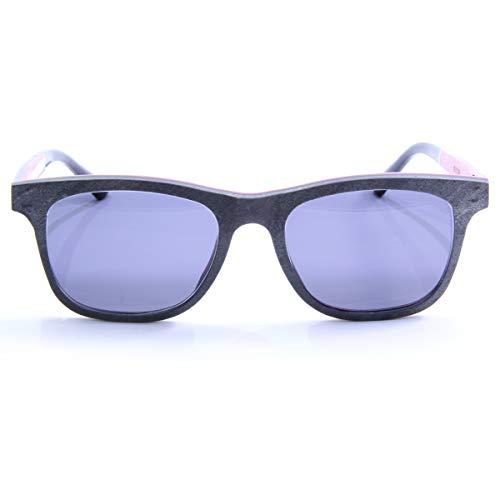iSTONE Sonnenbrille aus Holz/Echtholzbrille/Holzbrille mit Steinauflage - Modell 01 dunkler Granit in Carmine Rot - für Damen und Herren - UV400 = 100% UV-Schutz - Brillenmanufaktur aus Deutschland