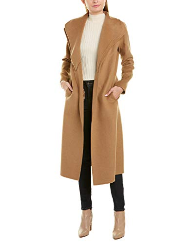 Price comparison product image T Tahari Women's Maxi Double face Wool Coat with Optional self tie Belt,  Camel,  Small